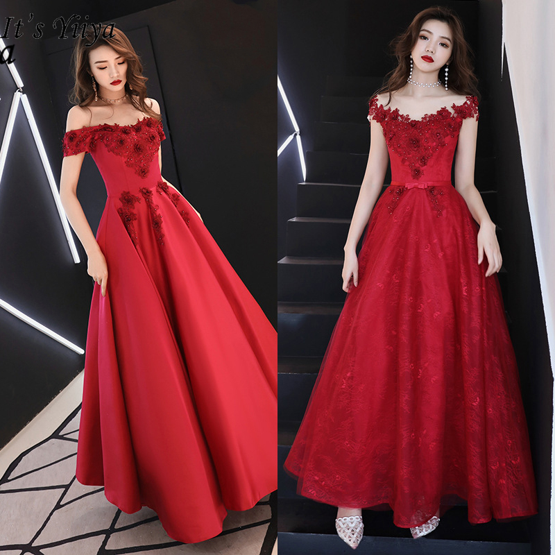 It's YiiYa Evening Dress 2019 Embroidery Flowers Elegant Formal Dresses Boat Neck Lace Up Off Shoulder Long Party Gowns E354
