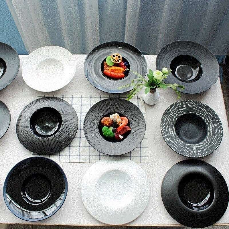 Vaisselle en céramique assiettes à dîner blanc nordique Restaurant plat de service Assiette en porcelaine ensemble de dîner assiettes et plats EA60PZ