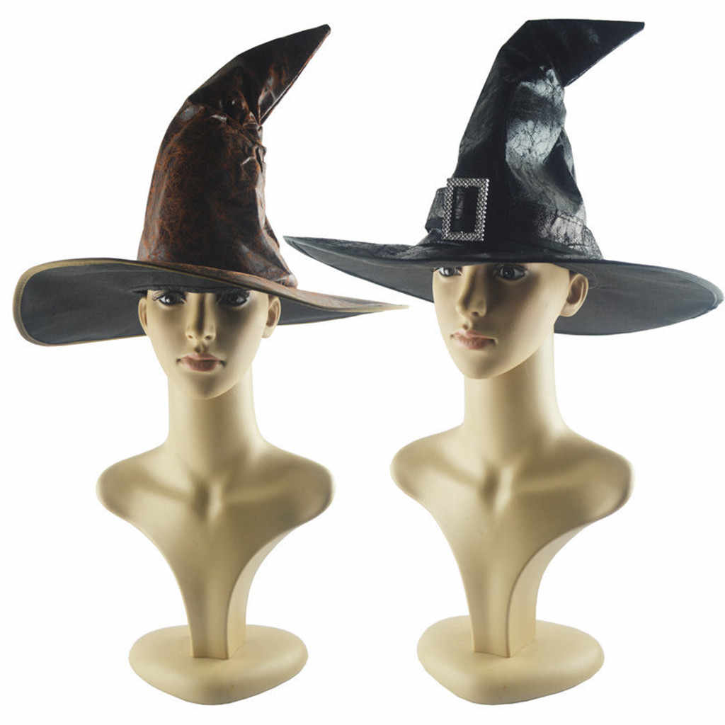 Nero Cappelli di Streghe Donne di Grandi Increspato Cappello Travestimento Cappello Da Mago Cappellini per feste e party Cosplay Del Partito di Halloween Fancy Dress Decor Top Hat