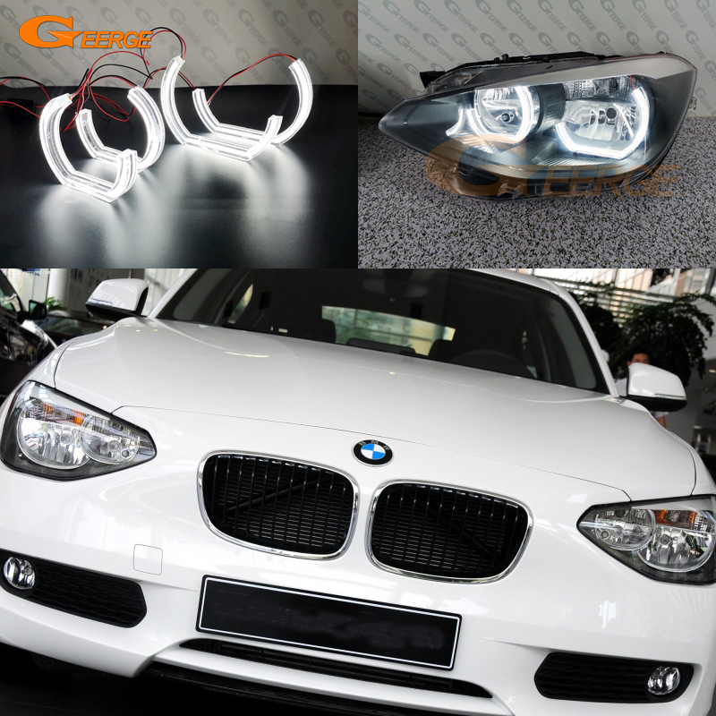 For BMW 1 SERIES F20 F21 2011-2017 HALOGEN HEADLIGHT Excellent DTM M4 Style Ultra Bright Led Angel Eyes Kit Halo Rings