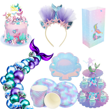 Little Mermaid Party Supplies Photo Props Mermaid Decoration Mermaid Birthday Party Favors Kids Birthday Parties Decorations little mermaid party supplies mermaid theme birthday decor mermaid banner balloon for kids favors wedding party decorations
