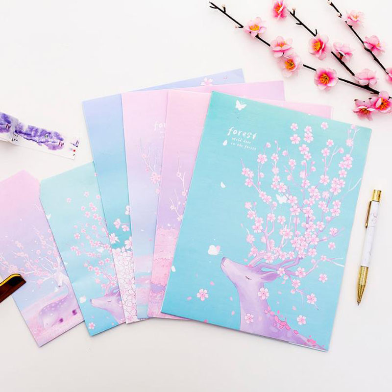 9 Pcs/pack Cartoon 3 Envelopes + 6 Sheets Letters Paper Forest Deer Cherry Sakura Series Envelope Letter Set For Gift Stationery