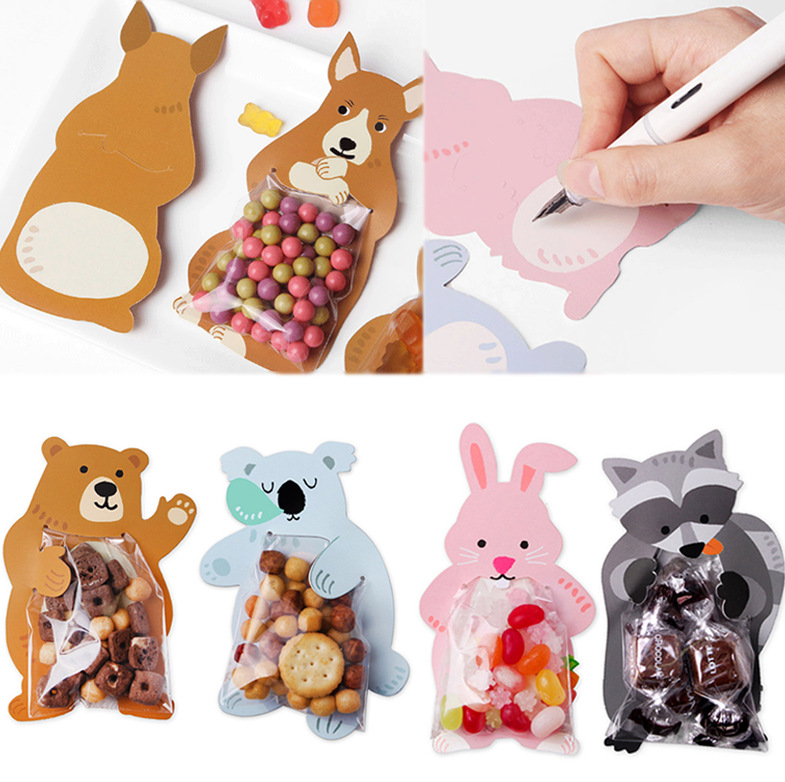10pcs Woodland Animals Baking Candy Packaging Bag Bear Koala Rabbit Cookie Bags Greeting Cards Baby Shower Birthday Gifts Box
