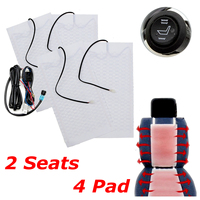 New 4pcs 6 Level 12V Carbon Fiber Universal Car Heated heating Heater Seat Pads Winter Warmer Seat Covers