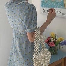 HziriP 2020 azul todo partido Puff-Sleeved Florals elegante gasa suelta de talla grande de impresión Vintage Chic suave vestido de mujer de cintura alta