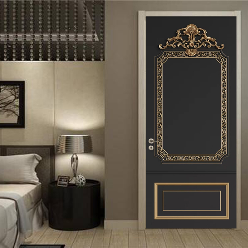 PVC Wallpaper 3D Stereo European Style Relief Golden Pattern Background Wall Sticker Living Room Bedroom Waterproof Door Sticker
