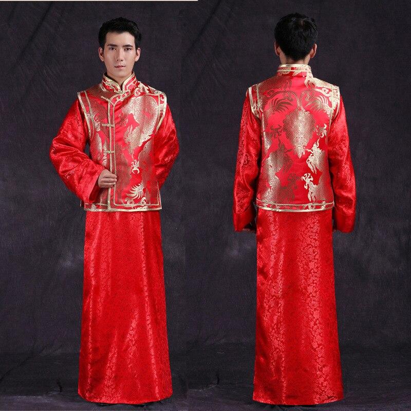 Red Traditional Chinese Style Groom Wedding Suit Men Cheongsam Long Sleeve Tang Costume Mandarin Jacket Dragon Groom Wear