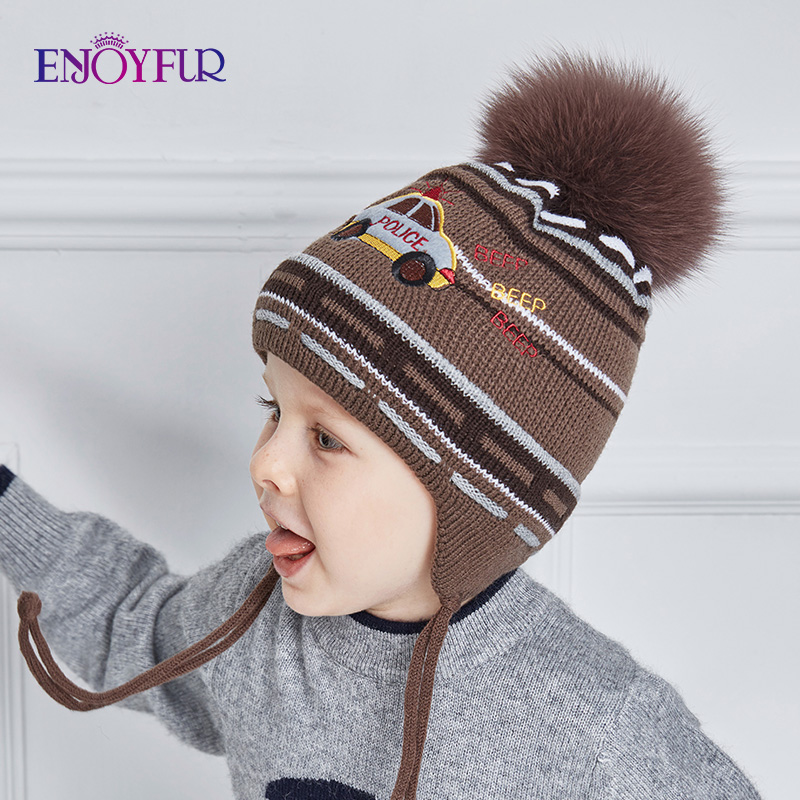 ENJOYFUR Real Fox Fur Pompom Winter baby Hats Cute Cartoon Car Knitted Ears Hat Thick Warm Cotton Boy Cap Kids   Beanies