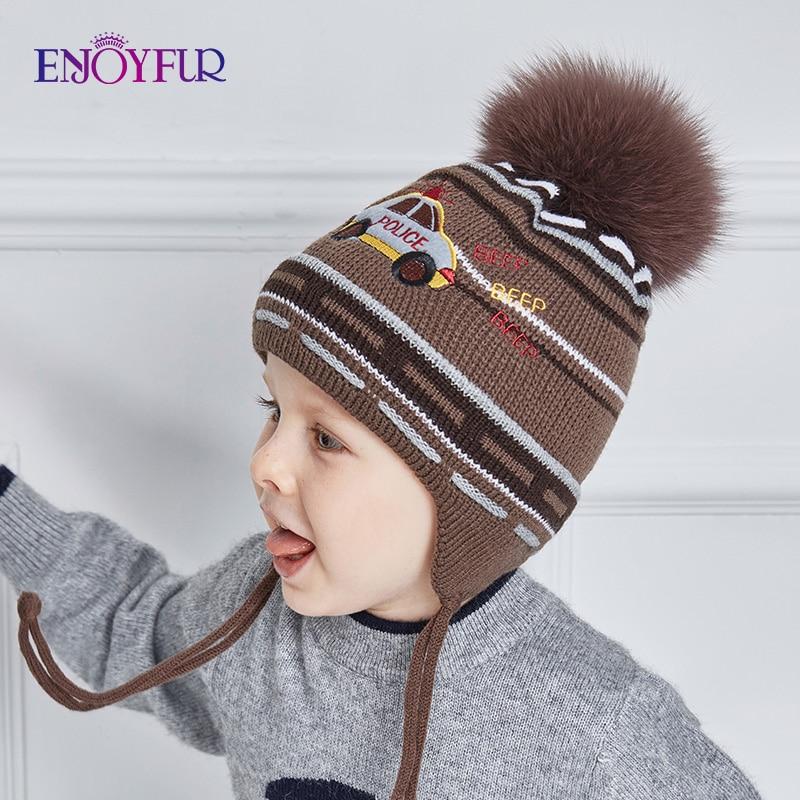 ENJOYFUR Real Fox Fur Pompom Winter Baby Hats Cute Cartoon Car Knitted Ears Hat Thick Warm Cotton Boy Cap Kids Beanies