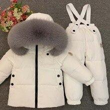Dollplus/Коллекция года, комплекты детской одежды для русской зимы пуховое пальто для мальчиков и девочек натуральный мех+ штаны, теплый детский зимний комбинезон, лыжный костюм для улицы