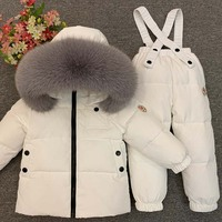 Dollplus 2019 Russian Winter Children Clothing Sets Boy Girls Down Coat Real Fur+Pants Warm Children's Snowsuit Outdoor Ski Suit