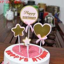 New Cake Topper Child Birthday Cartoon Double Pink Blue Gold and Silver Heart Decorating Paper Bunting Boys Girl Decoration