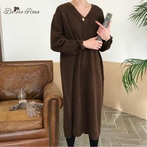 Image 2 - Belinerosa coreano estilo casual decote em v cor pura elegante solto longo vestidos de malha outono inverno camisola dressyxmz0004