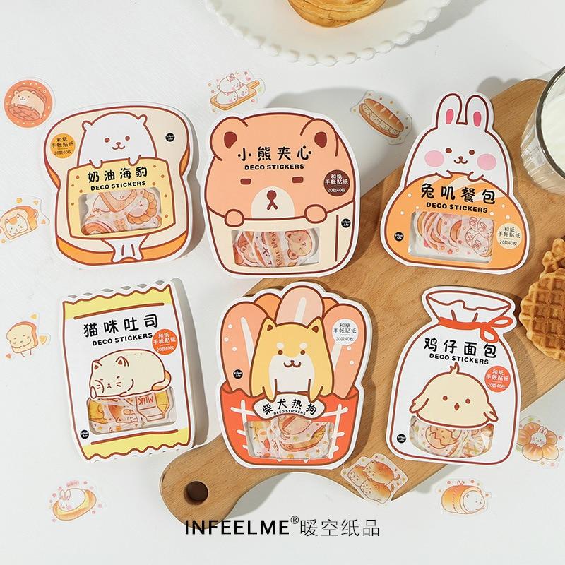40pcs/lot Kawaii Bread Mini Paper Sticker Bag Diy Diary Planner Decoration Sticker Album Scrapbooking Kawaii Stationery Stickers