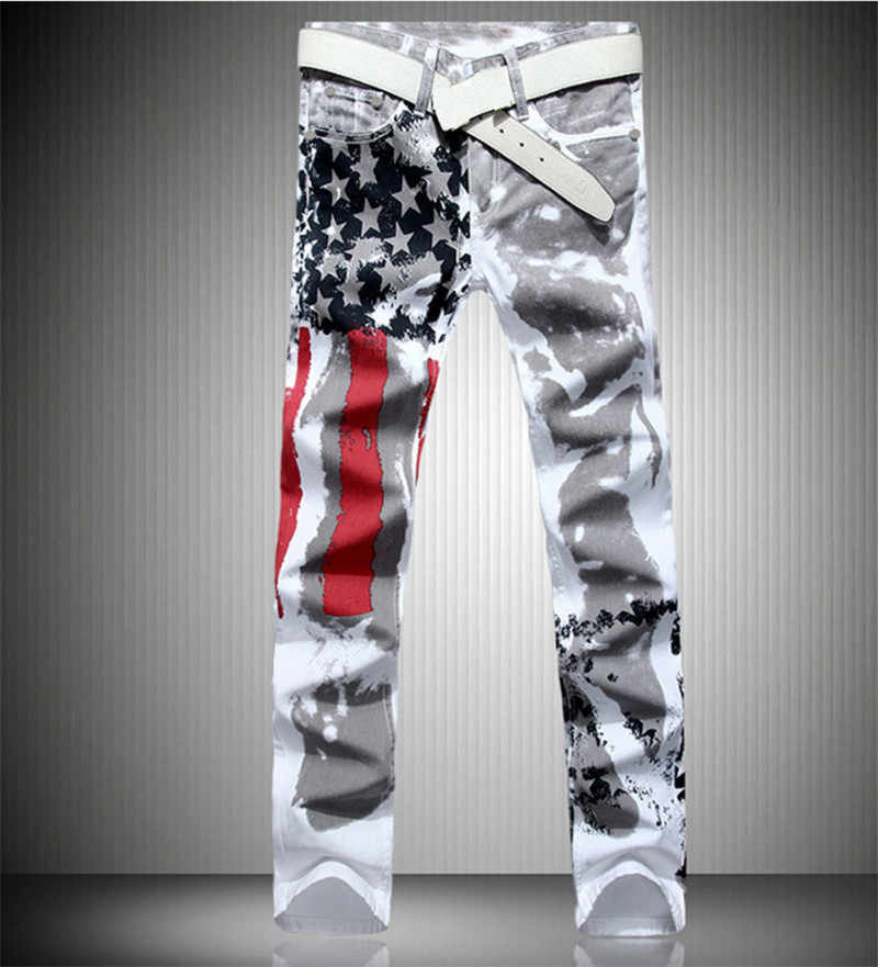 Men's printed jeans new white flag flower pants tide male Slim casual elastic large size jeans tide male