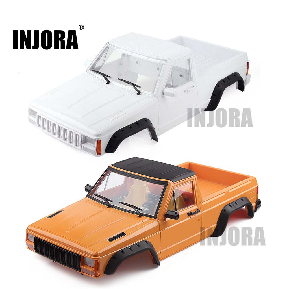 INJORA Yellow \ White 313mm Wheelbase Pickup Truck Body Shell Kit For 1/10 RC Crawler Car Axial SCX10 & SCX10 II 90046