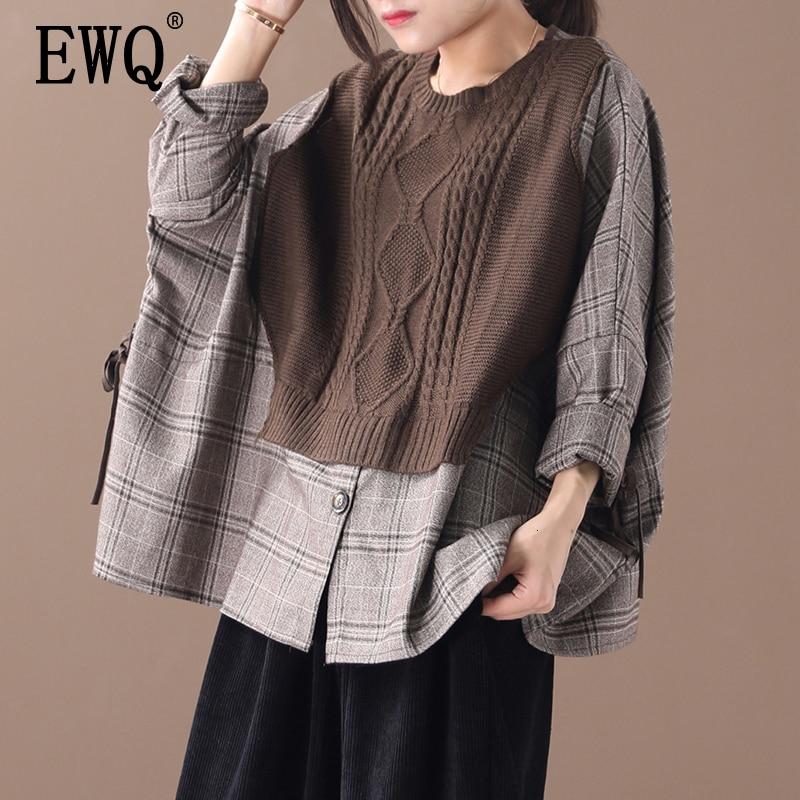 [EWQ] 2020  Autumn High Quality Round Collar Long Batwing Sleeve Fake Two Piece Knitting Vintage Shirt Women Fashion Tide AH519