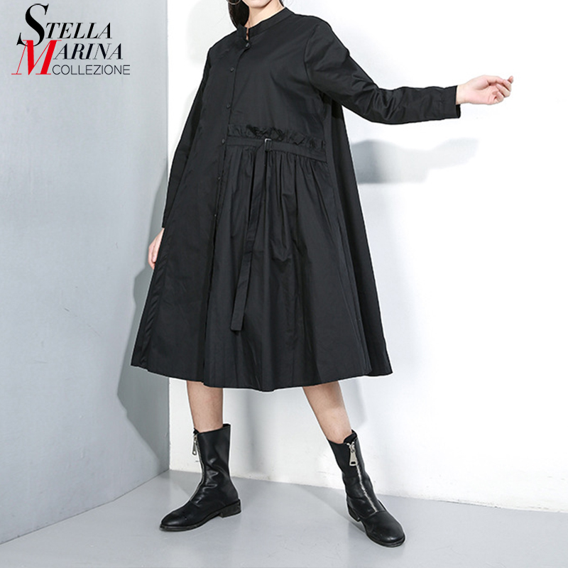New 2019 Women Winter Solid Black Green Midi Dress With Tape Full Sleeve A-Line Plus Size Ladies Casual Dress Robe Femme J279