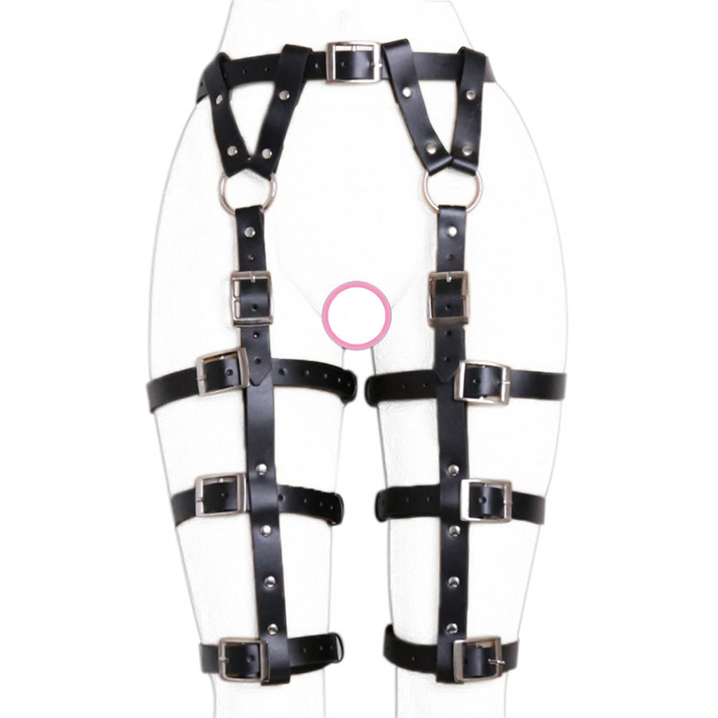 1 Piece Sexy Elastic Women's Black Punk Studded Leather Leg Harness Garter Belt Waist Leg Cincher 6 Rings Suspender Strap
