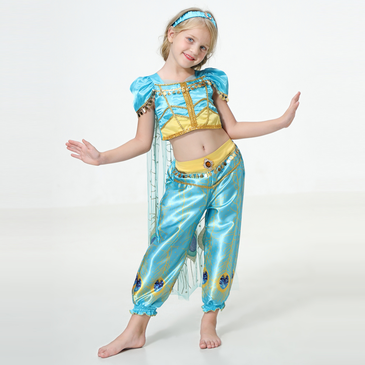 Image 2 - 2019 Movie Girls Kid Summer Jasmine Princess Dance Dress Children Aladdin Halloween Party Performance Costume Top Skirt Pant Set-in Girls Costumes from Novelty & Special Use