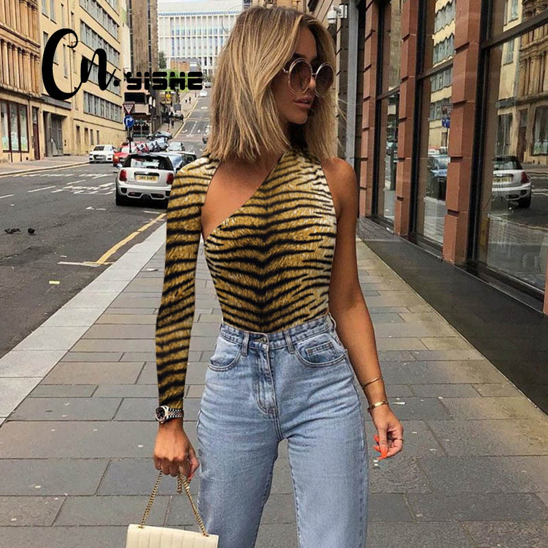 CNYISHE Print Rompers Woman Jumpsuits Fashion Slim One shoulder Outerwear Sexy Club Skinny Women Bodysuits Rompers For Female