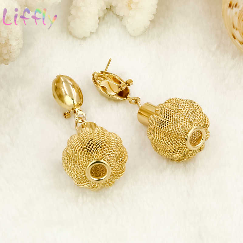 Liffly דובאי זהב נשים שרשרת צמיד כדור צורת עגילי טבעת Creative חתונה סטי תכשיטי כלה