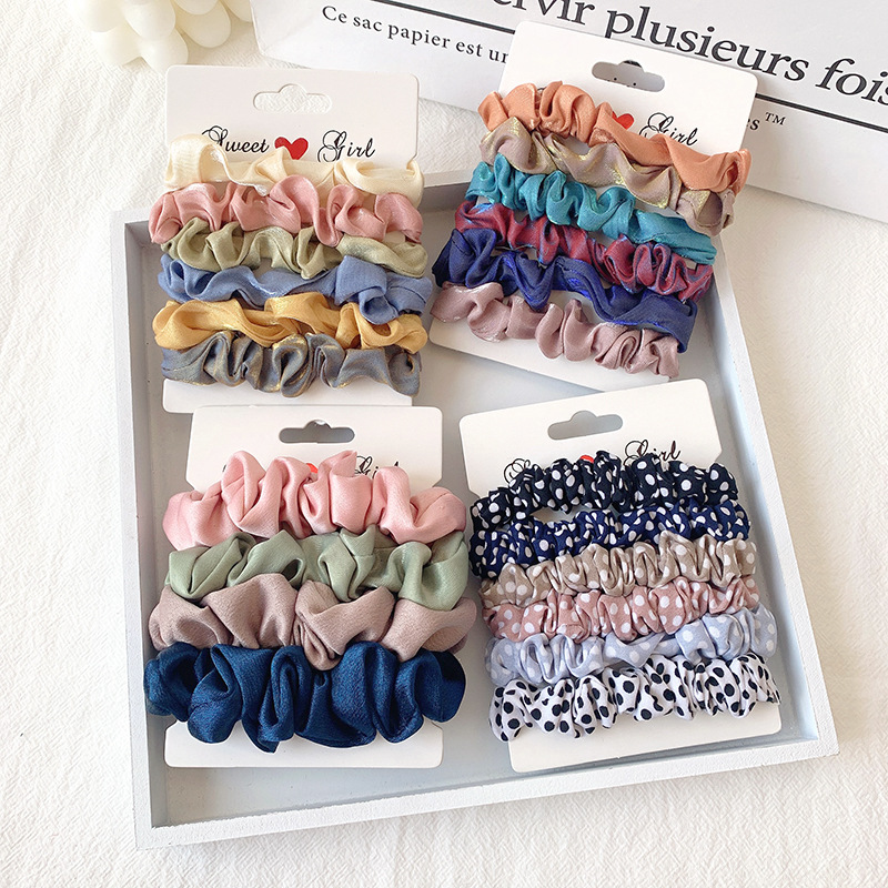 6pcs/Set Chiffon Scrunchies Set For Woman Dot Solid Hair Ties Girls Rubber Band Hair Ornaments Femme Headwear Hair Accessories