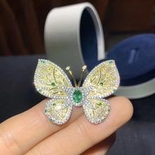 CoLife biżuteria srebrna broszka z motylkiem dla kobiety 4*6mm naturalny szmaragd 925 srebrna szafirowa broszka elegancka srebrna broszka tanie tanio CoLifeLove SILVER 925 sterling Ngdtc Emerald Broszki BR-4*6-1-EM Party Inne Sztuczne materiału Zwierząt TRENDY