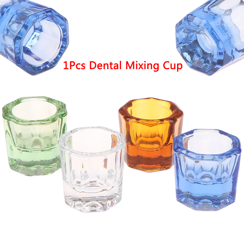 1PCS Dentistry Mixing Bowls Glass Dish Household Octagonal Cups Reconcile Cup For Dental Lab 4 Colors