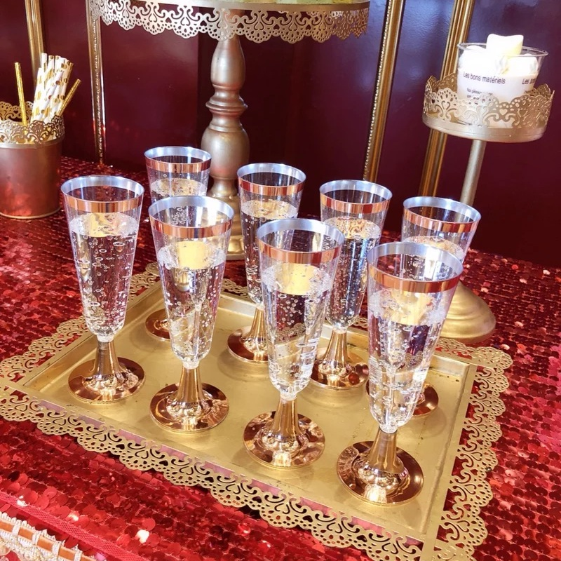 24Pcs 150 Ml Plastic Rose Gold Rimmed Clear Hard Disposable Party Wedding Cups Premium Fancy Champagne Glasses Flutes