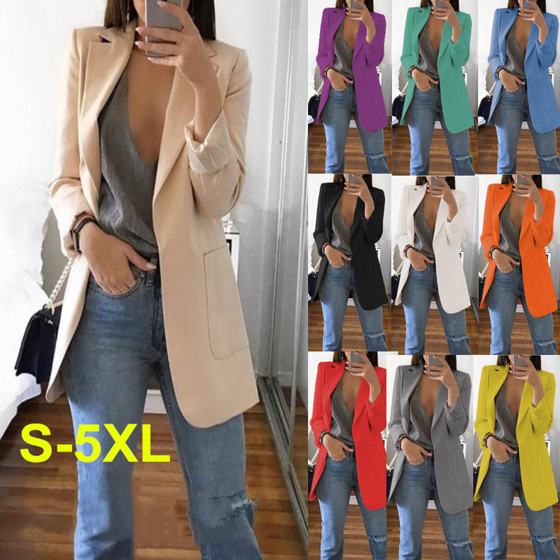 Slim Women Blazers Autumn Fashion Jacket Female Work Office Solid Pocket Business Notched Blazer Feminino Coat Plus Size S-5xl