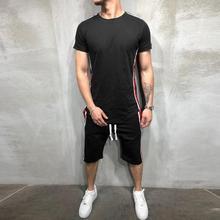 Мужские летние повседневные Модные цветные шорты с коротким рукавом, спортивные тонкие комплекты, ropa deportiva hombre#0927