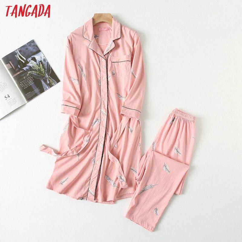 Tangada Women Pink Feather Pattern Cotton Suits New Arrival 2020 Tops Pants 2 Piece Sets Female Twins Sets Female Set YU15