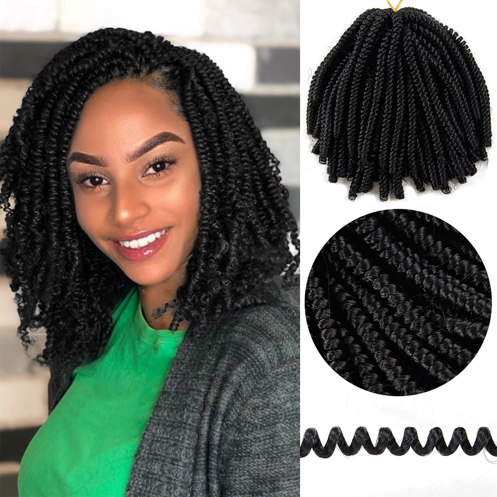 YxCheris 60 Roots 8inch Fluffy Spring Twist Crochet Hair Extensions Synthetic Crochet Braids Black Brown Ombre Braiding Hair