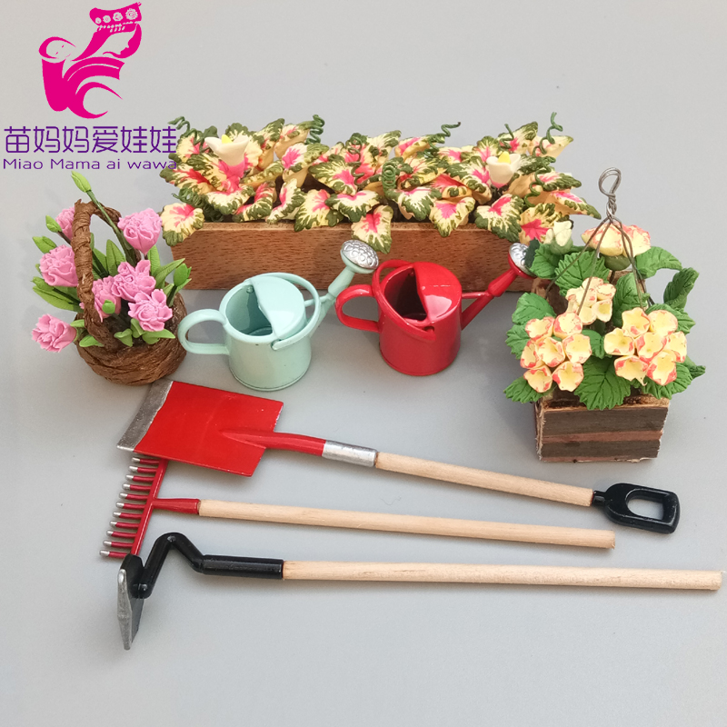 BJD Doll House Accessories Mini Simulation Garden Tools Flowers Shower Can Shovel Rake Washing Machine For Barbie Doll House