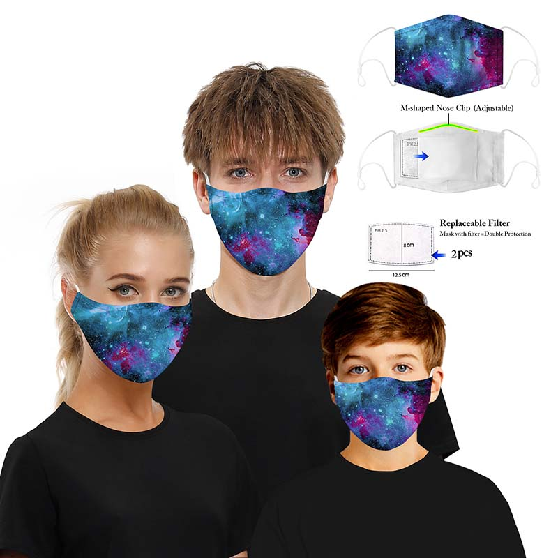 Protective Mask For Adult Children 3D Printed 5 Layers Filter Dustproof Animal Starry Sky Printed Anti-dust Filter Mask