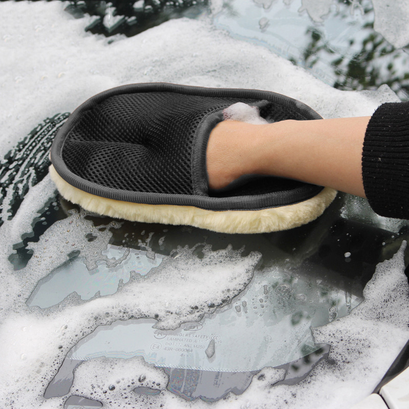 Автомобильная Чистящая шерстяная кашемировая перчатка для мытья машины Чистящая рукавица моющая кисть для уборки машины инструменты мото...