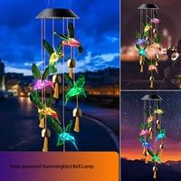 Carillón de viento Solar LED de Color, luz nocturna, mariposa colibrí, lámpara de viento impermeable para el hogar, decoración de jardín al aire libre