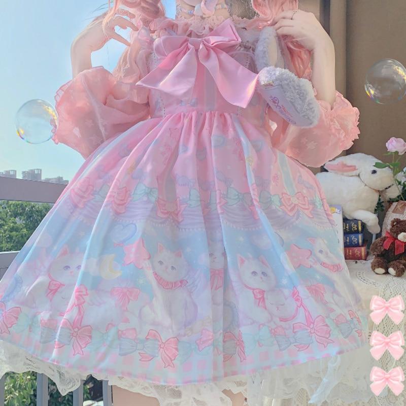 Викторианское винтажное женское платье без рукавов с бантом для вечеринки принцессы платье с принтом кошки мечты для девочек японское мило...