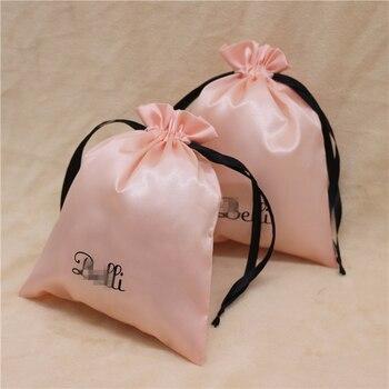 Satin Drawstring Bags Jewelry/Makeup/Gift/Wedding/Party/Storage/Hair Bundle/Wig/Shoe Bags Silk Cloth Pouch Custom Logo Print 100
