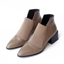 chic women boots leather+stretch fabric cozy autumn shoes woman pointed toe block heels ankle boots female pumps zapatos mujer msstor buckle off white woman shoes 2018 spring strange style pointed toe women pumps genuine leather ankle boots for women 4cm