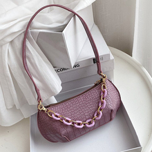 цена на Candy Chain Design Solid Color Small PU Leather Crossbody Bags for Women 2020 Summer Simple Armpit Bag Shoulder Handbags
