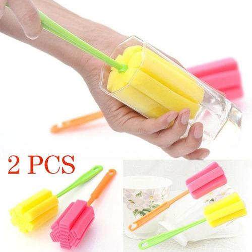 2 PCS Sponge Bottle Cup Brush Sponge Cup Brush Glass Bottle Cleaning Removable Kitchen Glass Cleaning Brush Magic Sponge