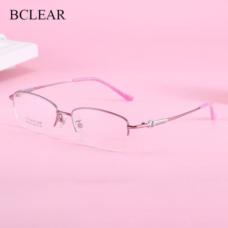BCLEAR Elegant Intellectual Lady Half Rim Glasses Frame Refined luxurious Pure Titanium Women Eyeglasses Spectacle Frames New