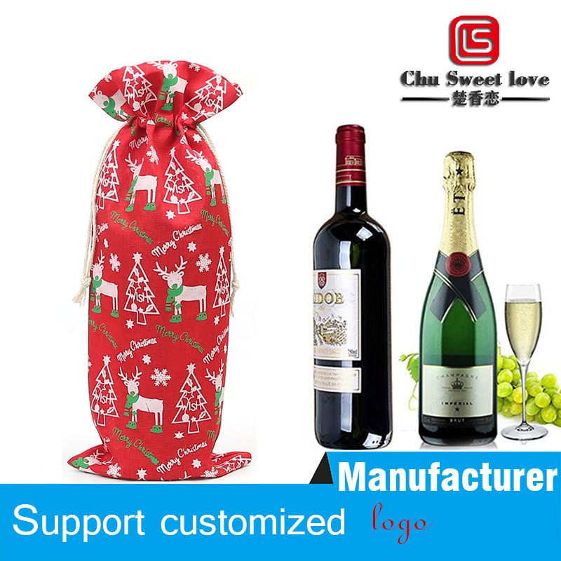 20 Pieces Of Linen Drawstring Bag Christmas Gift Bottle Set Bag Holiday New Year Party Decorations