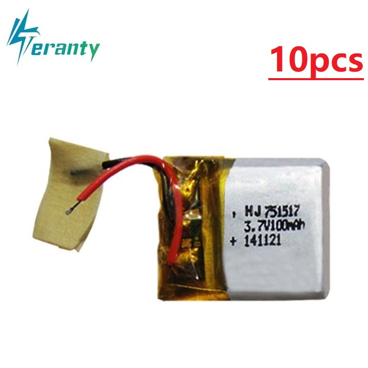 3.7V 100mAh 751517 LIPO Battery For Cx10 CX-10 CX-12 JJ810 820 828 V646 RC Quadrocopter 3.7V Lipo Bettery Free Shipping 1-10Pcs