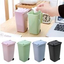 Mini escaninhos de lixo plástico desktop com tampa do agregado familiar limpo mesa de lixo prático shopping tesoura lápis material de escritório