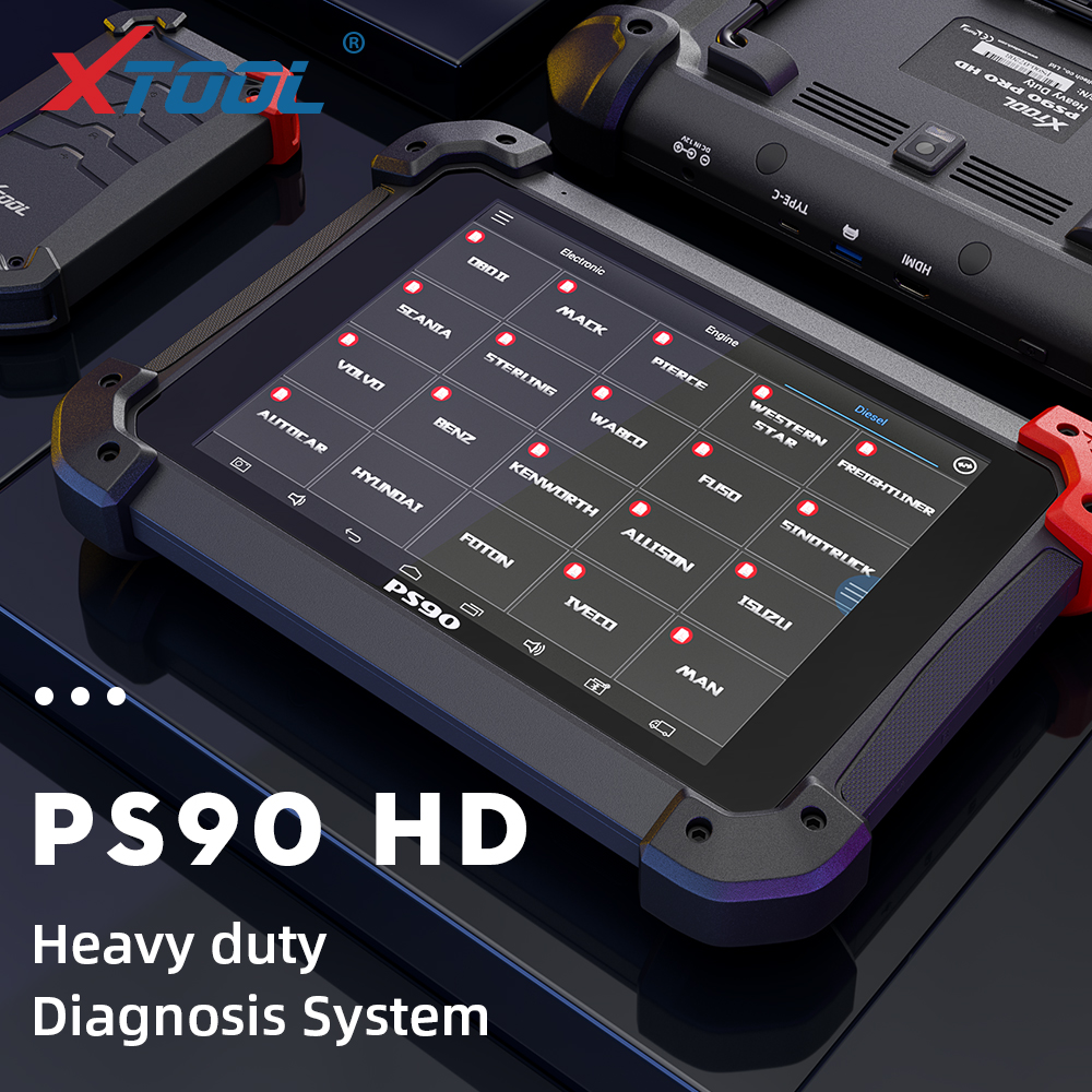 XTOOL PS90 HD OBD2 <font><b>diagnostic</b></font> tool Heavy Duty auto scanner Truck with bluetooth box Online Material Inquiry for benz Free update image