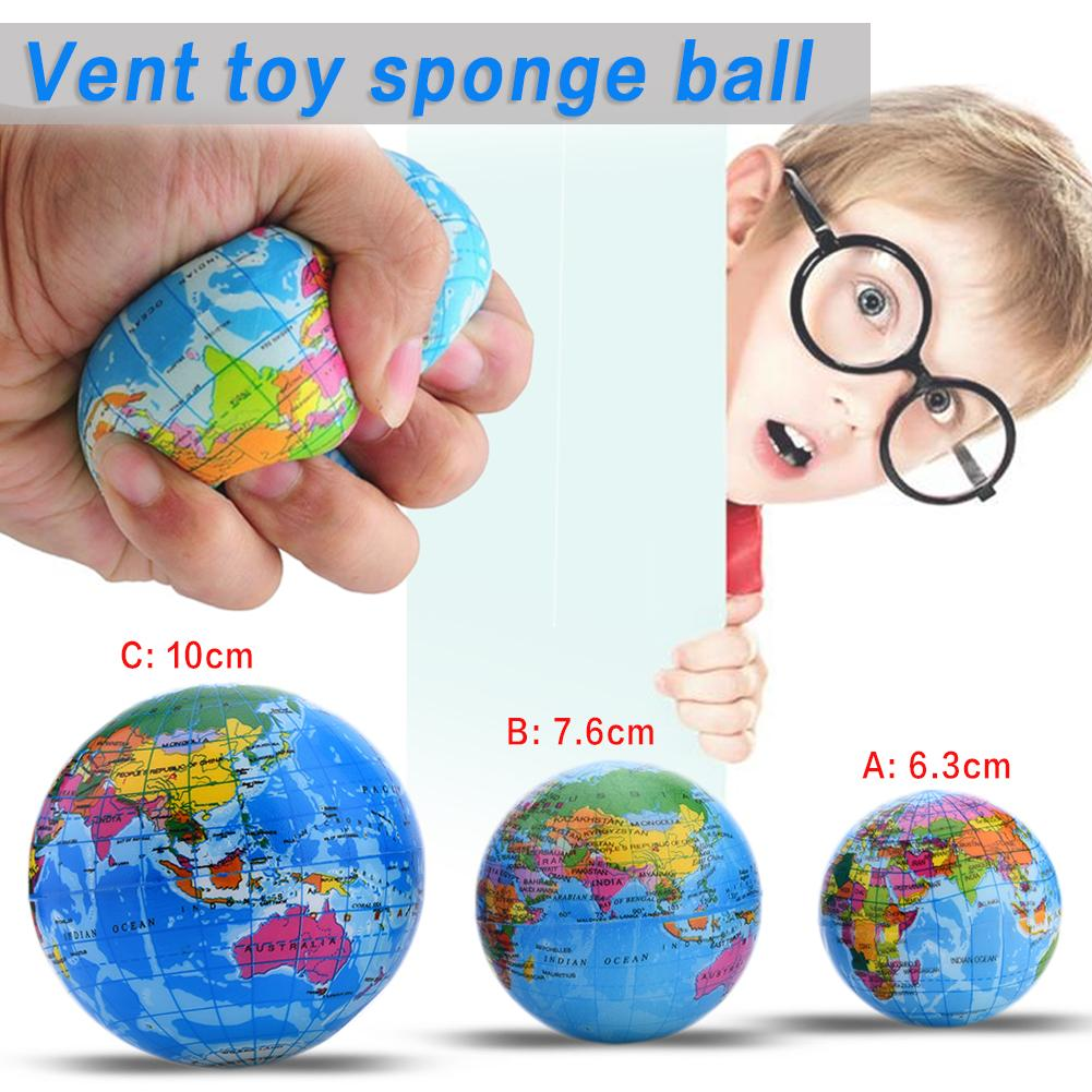 60~100mm Anti Stress Relief World Map Foam Ball Atlas Globe Palm Ball Earth Ball Toys For Children Girls Boys