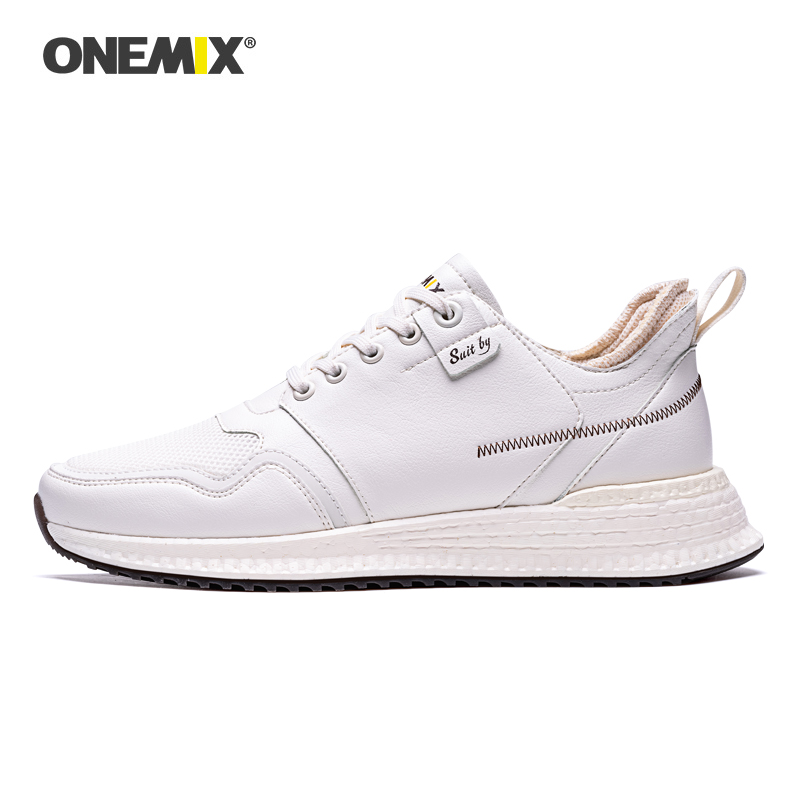 ONEMIX White Sneakers For Men Autumn Comfort Leather Surface Running Shoes Lace Up RB Outsole Man Athletic Walking Shoes
